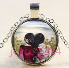 Best Two Sisters Cabochon Tibetan silver Glass Chain Pendant Necklace #4445