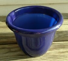 "Wonderful Plastic Round Flower Plant Pot W/ Reservoir 9"" across NEW Dark Purple"