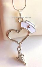 Silver Plated Nightingale Lamp Necklace Nursing Graduation Gift Nurse Cap Heart
