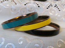 Enamel and Gold tone Bangle Bracelet Lot 3 pc Yellow Black Green 3/8 in wide