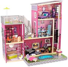 KidKraft Girl's Uptown WOODEN DOLL HOUSE, 35 Accessory Pieces Colorful DOLLHOUSE