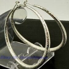 "2.28""8g BIG MATTED CIRCLE REAL 18K WHITE GOLD PLATED HOOP EARRINGS SOLID FILL GP"