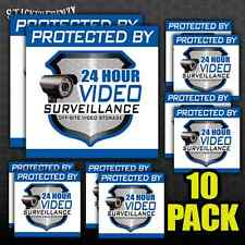 Protected By 24 Hour Video Surveillance Decal 10 Pack #FS012x10 Security sticker