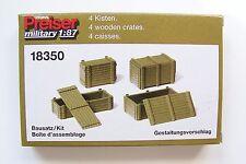 """HO Preiser Military 18350 Four """" WOODEN """" CRATES : Use with Minitanks Dioramas"""