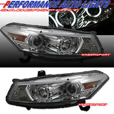 08-12 HONDA ACCORD COUPE DUAL CCFL ANGEL EYE HALO PROJECTOR HEADLIGHTS CHROME