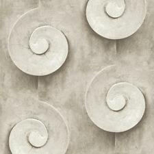 Muriva Sea Shell Swirl Pattern Wallpaper Stone Faux Effect Fossil Circle L13908