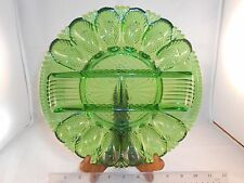 SMITH VINTAGE GREEN GLASS DEVILED EGG RELISH SERVING TRAY DIVIDED PLATTER HEAVY