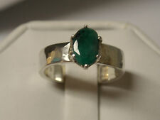 2ct natural green Emerald hammered band 925 sterling silver ring size 8.5 USA