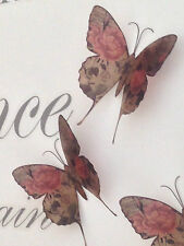 4 Vintage Rose Print Butterflies Brown Sepia Amber Butterfly Bedroom Furniture