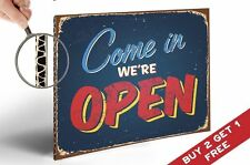 WE ARE OPEN sign RETRO POSTER A4 THICK BOARD SHABBY SHOP BUSINESS DISPLAY DECOR