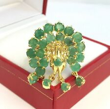 14k Solid Yellow Gold Cute Peacock Ring, Natural Emerald 6.25TCW, Size 8.5