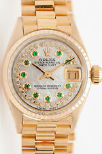 $20,000 1ct Emerald Diamond GENUINE Rolex Ladies 18k Gold President Watch & BOX