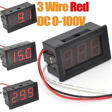 10pcs 3 Wire DC0-100V Red LED Digital Display Voltage Panel Meter Voltmeter