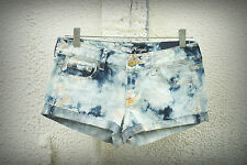 NWT AMERICAN EAGLE 2/4 Hot Mini Denim Short Shorts Tie Dye Paint Hippie Festival
