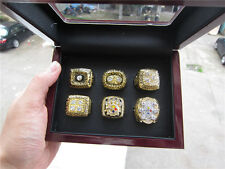 6pcs Pittsburgh Steelers Championship Ring With Solid Wooden Display Box Gift