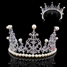 8cm High Huge Full Crystal Pearl Wedding Bridal Party Pageant Prom Tiara Crown