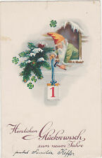 Vintage,Elf/Gnome,New Years Postcard,Used,Saarland (Saargebiet) Stamp,c.1930s