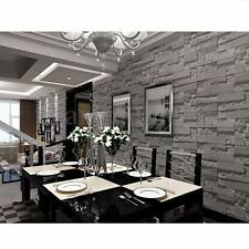 10M 3D Brick Stone Grey Textured Wallpaper Wall Paper Home Art Vinyl Decor Decal