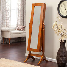 Oak Finish Free Standing Mirror Jewelry Armoire Storage Furniture Home Bedroom