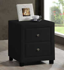 Brand New Black Faux Leather 2-Drawer Bedside Cabinet Table RRP £129