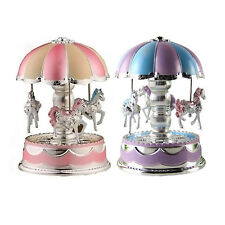 New Kids Girl LED Horse Carousel Music Box Toy Clockwork Musical Christmas
