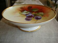 """LIMOGES D&C HAND PAINTED SIGNED .""""GROSS"""", PEDESTAL TRAY, FRUIT BOWL, PLUMS, 9"""""""