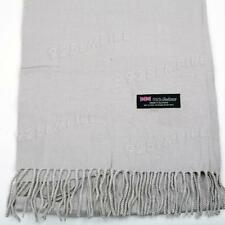 Men Women unisex 100% CASHMERE Light Gray Warm PLAIN Scarf pure Wool