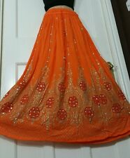 Ladies Indian Party Boho Hippie Gypsy Long Sequin Skirt Rayon in ORANGE frsz