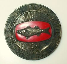 VINTAGE OLD FISHING PIN R.J. SCHAEFER FISHING CONTEST MERIT AWARD
