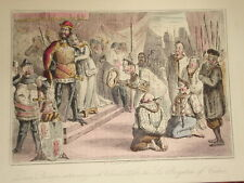 1855 COMIC PRINT ~ KING EDWARD SIX BURGESSES OF CALAIS