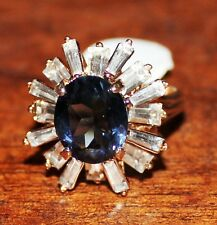 NEW WOMENS LARGE BLUE STONE WITH CUBIC ZIRCONA 18K HGE RING SIZE 10
