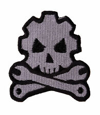 DEVIL SKULL WITH CROSS BONES Embroidered Iron On Motorcycle Bike Vest Patch P54