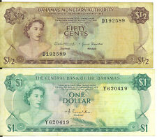 Bahamas Lot of 2 Notes $1 One Dollar 50 Cents 1974 1968 Condition as per Image