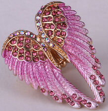 Angel wing stretch rings women biker bling jewelry antique gold silver plated 2Q
