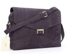 New BRIONI Purple Suede Leather Messenger Crossbody Laptop Bag Briefcase NWT!