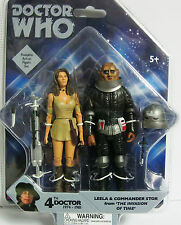 "DOCTOR WHO 4TH DOCTOR WHO LEELA & COMMANDER STOR 5"" FIGURES THE INVASION OF TIME"