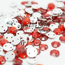 1000 Sew On Rhinestone Acrylic Gem Silver FlatBack Crystal 2 holes bling clothes
