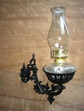 Beautiful Wall Mount Oil Lamp Holder (sconce) And Clear Glass Fount