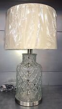 Moroccan Style Textured Glass Bottle Brushed Chrome Metal Stem Linen Shade NEW