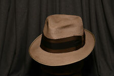 50's Champ Summer Straw Fawn Colored Fedora Vintage Men's Hat Size 7 - 7 1/8