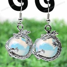 2x Opalite Gemstone Dragon Wrap Dangle Eardrop Hook Earrings Women Jewelry Gift