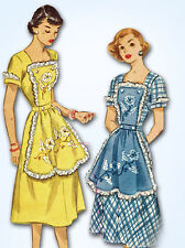 1950s Vintage McCall Sewing Pattern 1608 Misses Button On Apron Dress Sz 16 34 B