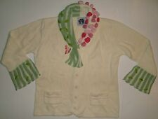 Storybook Knits Sweater Small S Butterfly Flowers Roses Green Leaves Cardigan