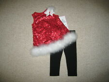 "NEW ""CHRISTMAS MARABOU SEQUINS"" Pants Girls 9m Winter Clothes Outfit Baby"