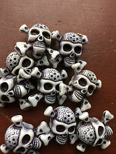 10 pack of White Skull & Crossbones design Acrylic Beads