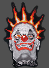 CLOWN SKULL EMBROIDERED 11 INCH  BIKER  PATCH