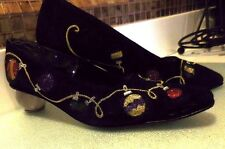 J Renee FAB womens Christmas Shoes RARE Black Lucite Heels Ornaments 9N Metallic
