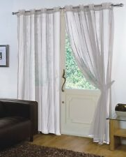 PAIR - VOILE NET PANELS EYELET / RING TOP 59'' X 90'' CURTAINS - SILVER
