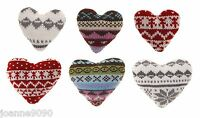 KNITTED NORDIC WOOL LOVE HEART FESTIVE CHRISTMAS TREE HOME DECORATIONS GIFT TAGS