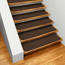 "Set of 12 SKID-RESISTANT Carpet Stair Treads 8""x23.5"" CHOCOLATE BROWN rugs"